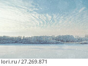 Купить «Winter picturesque landscape with trees and frosty river in the cold light fog at sunset. Winter snowy landscape», фото № 27269871, снято 7 декабря 2017 г. (c) Зезелина Марина / Фотобанк Лори
