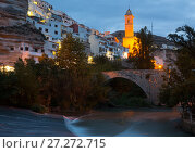 Купить «night view of Alcala del Jucar with bell tower and bridge», фото № 27272715, снято 11 мая 2016 г. (c) Яков Филимонов / Фотобанк Лори