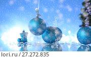 Купить «Lot of New Year's toys», видеоролик № 27272835, снято 7 декабря 2017 г. (c) Peredniankina / Фотобанк Лори