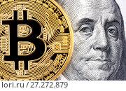 Купить «Cryptocurrency of the Bitcoin with Benjamin Franklin portrait from one hundred american dollars. Business concept of worldwide cryptocurrency», фото № 27272879, снято 30 ноября 2017 г. (c) FotograFF / Фотобанк Лори