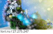 Купить «Lot of New Year's toys», видеоролик № 27275247, снято 9 декабря 2017 г. (c) Peredniankina / Фотобанк Лори