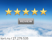 Купить «five star review rating button in sky», фото № 27279535, снято 13 декабря 2019 г. (c) Wavebreak Media / Фотобанк Лори