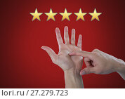 Купить «Hand counting five star rating review», фото № 27279723, снято 13 декабря 2019 г. (c) Wavebreak Media / Фотобанк Лори