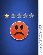 Купить «One star review rating and feedback smiley face sad», фото № 27279803, снято 19 января 2020 г. (c) Wavebreak Media / Фотобанк Лори