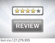 Купить «Review button with stars rating», фото № 27279955, снято 19 января 2020 г. (c) Wavebreak Media / Фотобанк Лори