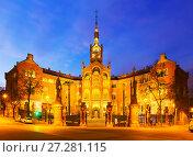 Купить «Facade of Hospital de Sant Pau in evening. Barcelona», фото № 27281115, снято 24 февраля 2019 г. (c) Яков Филимонов / Фотобанк Лори