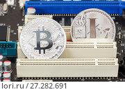 Купить «Coins of Cryptocurrency lying over electronic computer component. Business concept of digital money», фото № 27282691, снято 11 декабря 2017 г. (c) FotograFF / Фотобанк Лори