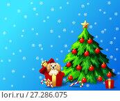 Купить «Голубой новогодний фон со снежинками, собакой породы кокер спаниель в красной подарочной коробке, елкой, украшенной шарами и звездой елкой и подарками. Иллюстрация в мультипликационном стиле», иллюстрация № 27286075 (c) Анастасия Некрасова / Фотобанк Лори