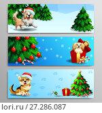Купить «Набор из трех баннеров на новогоднюю тему. Желтая собака породы бордер колли бежит на фоне зимнего елового леса. Бежевая собака кокер спаниель в красной подарочной коробке и украшенная елка на голубом фоне со снежинками. Коричневая собака вельш корги сидит в шапке санта клауса с елкой и подарками на голубом фоне со следами лап. Иллюстрация в мультипликационном стиле.», иллюстрация № 27286087 (c) Анастасия Некрасова / Фотобанк Лори