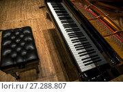 Купить «Чёрный рояль стоит на сцене в филармонии», фото № 27288807, снято 13 декабря 2017 г. (c) Николай Винокуров / Фотобанк Лори