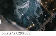 Washing and cleaning of car engine parts, water pressure, overhaul. Стоковое видео, видеограф Константин Шишкин / Фотобанк Лори