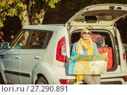 Купить «Summer trip by car and suitcase in car trunk», фото № 27290891, снято 20 августа 2015 г. (c) Наталья Давыдова / Фотобанк Лори