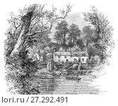 Купить «1890: The Erbistock Ferry near the Boat Inn on the banks of the River Dee, Wrexham County Borough in Wales.», фото № 27292491, снято 23 октября 2017 г. (c) age Fotostock / Фотобанк Лори