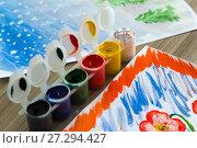 Купить «colored gouache and children's pattern», фото № 27294427, снято 24 ноября 2017 г. (c) Володина Ольга / Фотобанк Лори