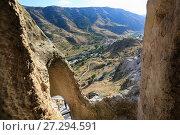 Купить «Пещерный город и монастырь, вид из пещеры на долину. Вардзия, Грузия», фото № 27294591, снято 23 сентября 2017 г. (c) Яна Королёва / Фотобанк Лори