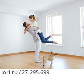 Купить «happy couple at empty room of new home», фото № 27295699, снято 4 июня 2017 г. (c) Syda Productions / Фотобанк Лори