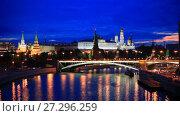 Купить «Москва. Вид на Большой Каменный мост и Кремль», видеоролик № 27296259, снято 8 мая 2012 г. (c) Литвяк Игорь / Фотобанк Лори