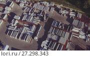 Купить «Aerial view of Manufacture of reinforced concrete structures», видеоролик № 27298343, снято 14 декабря 2017 г. (c) Илья Насакин / Фотобанк Лори