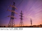 Купить «Воздушная линия электропередачи на фоне звёздного неба», фото № 27298359, снято 13 ноября 2016 г. (c) Карелин Д.А. / Фотобанк Лори