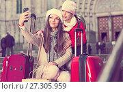 Купить «Girl and woman taking selfie on mobile phone», фото № 27305959, снято 19 ноября 2017 г. (c) Яков Филимонов / Фотобанк Лори