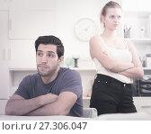 Купить «Man at home table after quarrel with wife», фото № 27306047, снято 20 марта 2019 г. (c) Яков Филимонов / Фотобанк Лори