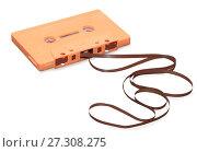 Купить «Vintage orange audio cassette with magnetic tape isolated over white», фото № 27308275, снято 6 сентября 2016 г. (c) Курганов Александр / Фотобанк Лори