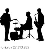 Купить «Silhouettes street musicians playing instruments on a white background», иллюстрация № 27313835 (c) Фотограф / Фотобанк Лори