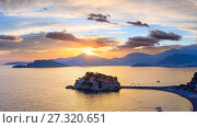 Купить «Sunset and Sveti Stefan sea islet (Montenegro)», фото № 27320651, снято 13 июля 2020 г. (c) Юрий Брыкайло / Фотобанк Лори