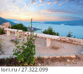 Купить «Observation area and  sea sunset (Croatia)», фото № 27322099, снято 20 июня 2012 г. (c) Юрий Брыкайло / Фотобанк Лори