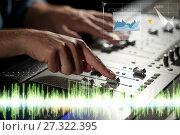 Купить «hands on mixing console in music recording studio», фото № 27322395, снято 18 августа 2016 г. (c) Syda Productions / Фотобанк Лори