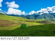 Купить «Green tourist tent in the mountains of Kyrgyzstan», фото № 27323231, снято 1 августа 2016 г. (c) Валерий Смирнов / Фотобанк Лори