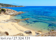 Купить «Summer sea coast (Halkidiki, Greece).», фото № 27324131, снято 23 июля 2016 г. (c) Юрий Брыкайло / Фотобанк Лори