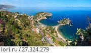 Купить «Taormina view from up, Sicily.», фото № 27324279, снято 21 августа 2018 г. (c) Юрий Брыкайло / Фотобанк Лори