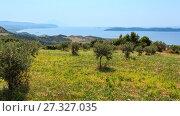 Купить «Summer seascape (Halkidiki, Greece).», фото № 27327035, снято 26 июля 2016 г. (c) Юрий Брыкайло / Фотобанк Лори