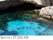 Купить «Cavern Grotta della poesia, Roca Vecchia, Salento sea coast, Italy», фото № 27333335, снято 7 июня 2017 г. (c) Юрий Брыкайло / Фотобанк Лори