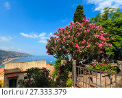 Купить «Taormina view from up, Sicily», фото № 27333379, снято 11 июня 2017 г. (c) Юрий Брыкайло / Фотобанк Лори