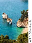 Купить «Faraglioni di Puglia Baia Delle Zagare, Italy», фото № 27335547, снято 6 июня 2017 г. (c) Юрий Брыкайло / Фотобанк Лори