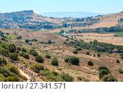 Купить «View from Valley of Temples, Agrigento, Sicily, Italy», фото № 27341571, снято 14 июня 2017 г. (c) Юрий Брыкайло / Фотобанк Лори