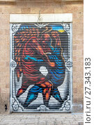 Купить «Графити на стене в центре   Иерусалима на религиозную тематику. Израиль.», фото № 27343183, снято 7 августа 2014 г. (c) Игорь Рожков / Фотобанк Лори