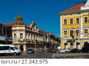 Купить «Streets of Satu Mare in Romania», фото № 27343975, снято 14 сентября 2017 г. (c) Яков Филимонов / Фотобанк Лори