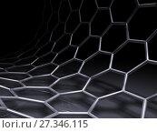 Купить «Bent hexagon mesh structure on black», иллюстрация № 27346115 (c) EugeneSergeev / Фотобанк Лори