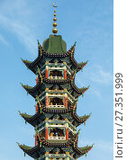 Купить «Chinese-style minaret of the Salar people grand mosque, Qinghai province, Xunhua, China.», фото № 27351999, снято 25 октября 2017 г. (c) age Fotostock / Фотобанк Лори