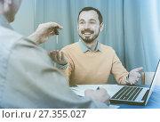 Купить «Mature man and manager contract car lease», фото № 27355027, снято 15 октября 2018 г. (c) Яков Филимонов / Фотобанк Лори