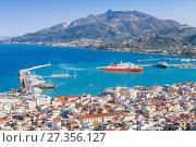 Купить «Coastal landscape of Zakynthos city», фото № 27356127, снято 21 августа 2016 г. (c) EugeneSergeev / Фотобанк Лори