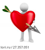 Купить «Man and heart on white background. Isolated 3D illustration», иллюстрация № 27357051 (c) Ильин Сергей / Фотобанк Лори