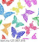 Купить «Seamless pattern with butterflies», иллюстрация № 27357315 (c) Сергей Лаврентьев / Фотобанк Лори