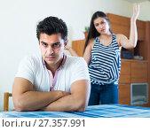 Купить «Conflict in young family at home», фото № 27357991, снято 26 сентября 2018 г. (c) Яков Филимонов / Фотобанк Лори