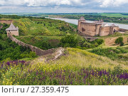Купить «Fortress in Khotyn city, located in Chernivtsi Oblast of western Ukraine, view with walls and one of the gates.», фото № 27359475, снято 13 июня 2017 г. (c) easy Fotostock / Фотобанк Лори