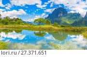 Beautiful landscape, pond on the foreground. Laos. Стоковое фото, фотограф Ольга Хорошунова / Фотобанк Лори