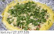 Купить «Pizza cooking. Pouring pizza with grated cheese and greens. Cooking.», видеоролик № 27377535, снято 9 января 2018 г. (c) Леонид Еремейчук / Фотобанк Лори